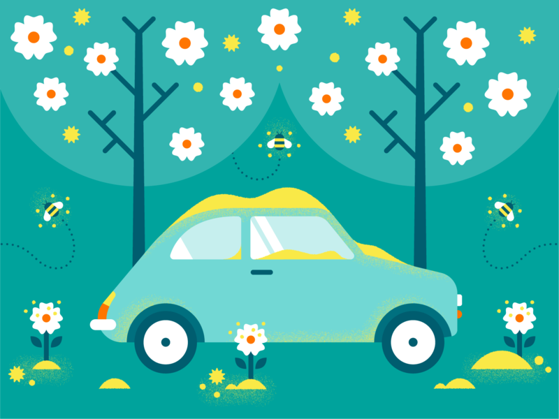 First Day of Spring green nature illustrator tree graphic design flower cute color blue art bee pollen fiat car texture design illustration vector equinox spring