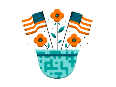 Memorial Day symmetrical minimal clean simple patriotic poppies art design usa soldier flag grain illustrator flowers flower holiday memorial day texture vector illustration