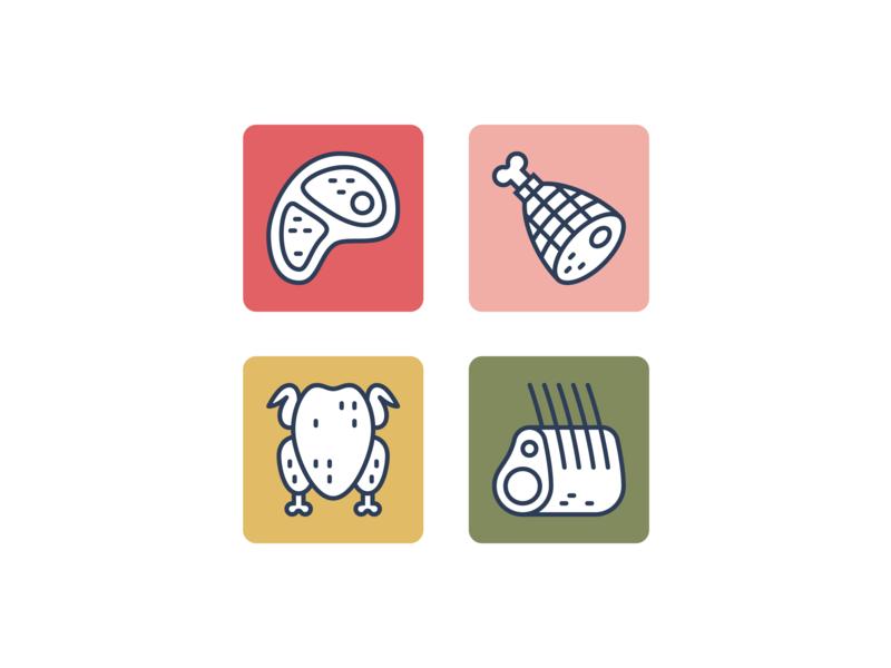 Meats vector steak pork ham turkey chicken meat graphic design iconography icon design design simple bright lineart line icon set illustration icon