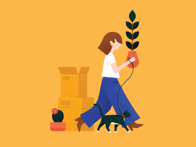 Moving Priorities I pants jeans packing shoes yellow clean minimal design art vector illustration character clothing outfit fashion cactus plant cat walking moving