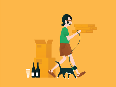 Moving Priorities II vector packing minimal strutting walking pizza beer outfit man bun mustache shorts illustration crocs moving design clothing clean character cat art
