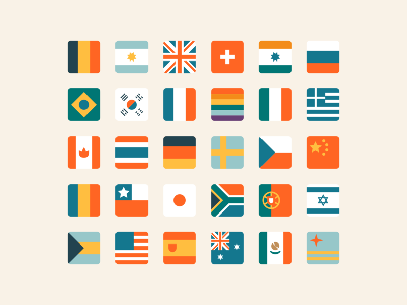 Flags lgbtq world countri minimal vector design illustrator color palette equality icon set icon flags