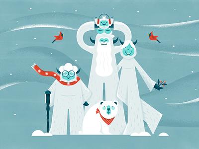 Happy Holidays! solstice winter art character cold texture vector snow bird pets baby family grandma scarf holidays christmas polar bear abominable snowman yeti illustration