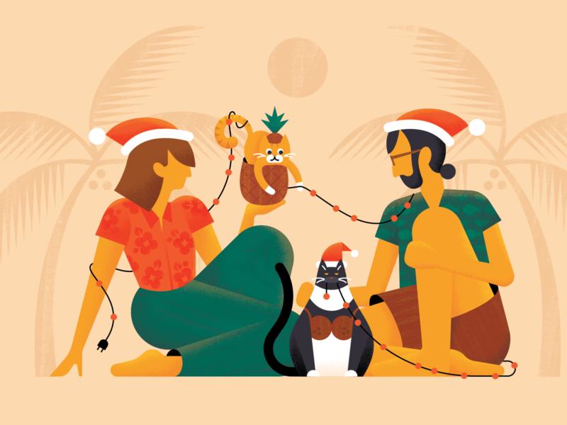 Mele Kalikimaka beard cat family texture brushes art sitting holidays design vector floral outfit illustration characters santa hat coconut bra pineapple palm tree hawaiian vacation christmas
