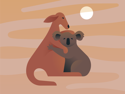 For the Animals help climate change bushfire rescue environment character animal flat gradient clean vector minimal design art donate australia hug illustration koala kangaroo
