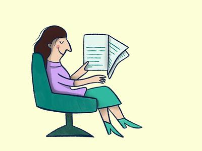 Reading the news article editorial reading paper art posterart oldschool person illu newspaper news branding woman human illustrator design illustration