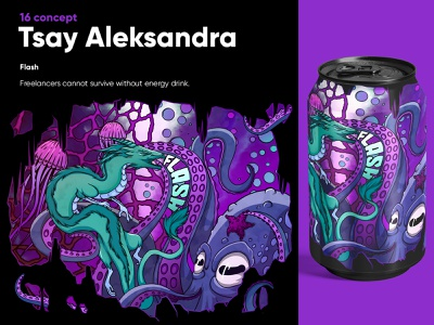 "Concept for the drink ""Flash"" cartoon cartoon design branding character design illustration design"