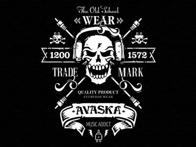 Avaska №2:) illustration t-shirt school old logo brand avaska skull voltage addict music headphones wire black white