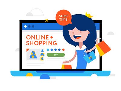 Shop time vector shutterstock shop mac internet illustration icon flat design buy online