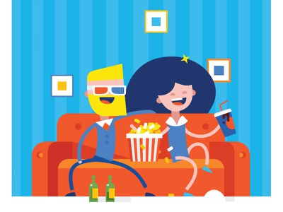 It's time to watch your favorite movie cinema vector shutterstock shop online internet illustration fun 3d flat design buy