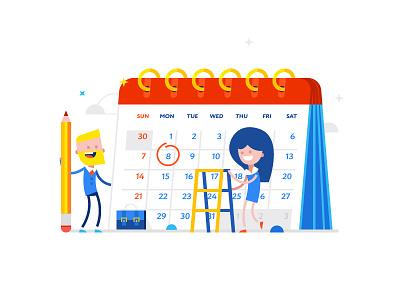 Calendar day date pencil calendar character vector shutterstock illustration fun flat design buy