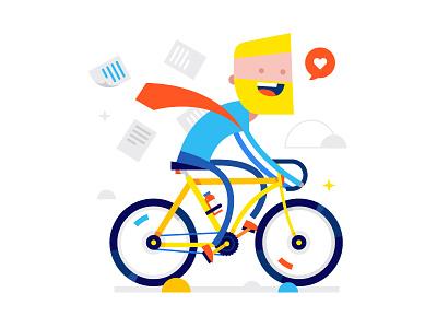 Fuck work, let's ride! ride love bike character vector shutterstock illustration fun flat design buy