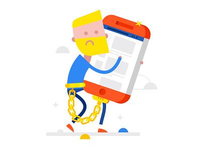 Telephone dependence phone man vector shutterstock shop online internet illustration flat design buy