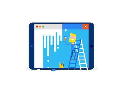 Windows vs iOS ipad man vector shutterstock ios internet illustration windows flat design buy