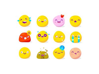 12 Yolks +) illustration love fun sticker smile art egg yolk icon flat design buy