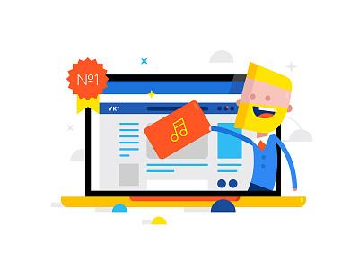 Music in the social network site apple vkontakte vk music business web illustration design character