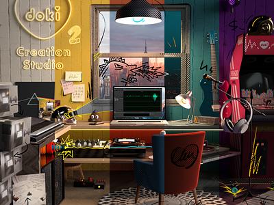Creation Studio game headphone microphone emoji daft punk music light studio creation