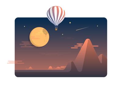 Scenery balloon air hot star shooting cloud graphic light mountain night moon
