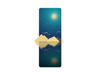 Night illustration ai peace blue lake star moon cloud mountain night