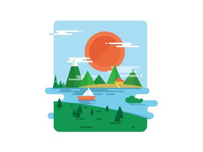 Scenery green blue lake cloud mountain tree boat sun
