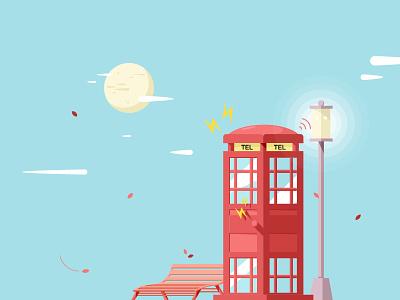 Telephone box wind leaf glass cloud moon thunder lamp chair telephone