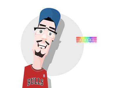 Z face beard nba bulls glasses rainbow basketball man