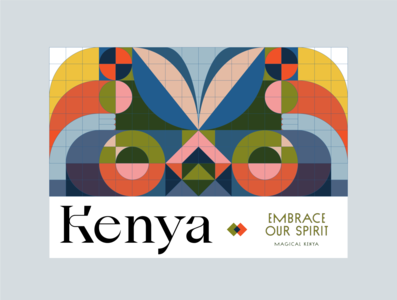 Kenya - Magical Kenya pattern native tribe africa tourism ads swiss poster swiss design minimalist simple geometric print poster