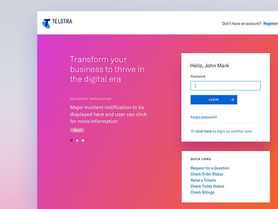 Login Page sign up form username telstra telco login