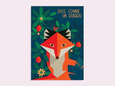 Fox flat origami poster leaf animal fox