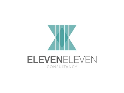 Eleven Eleven Logo clean business consultancy grey green teal logo design logo