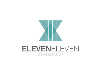 Eleven Eleven Logo clean business consultancy grey green teal logo design logo