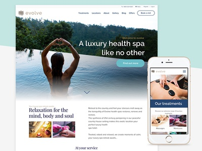 Luxury Health Spa Concept concept calm retreat mobile layout desktop health spa ux ui design