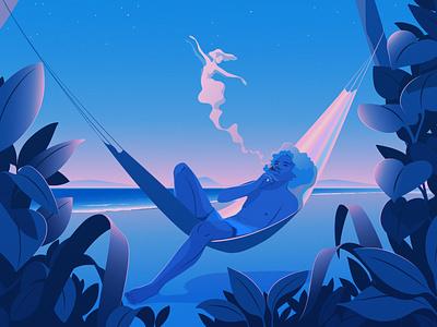 Nights Like This | Personal beach hammock sunset blue nostalgia magical realism editorial illustration adobe illustrator