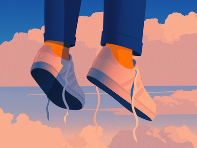 I'll Fly Away clouds sky sneakers adobe illustrator