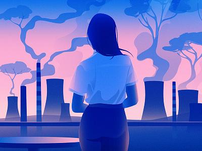 Sustainable Impact illustration editorial adobe illustrator finance pollution environment