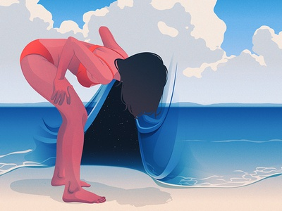 New View space surreal beach illustration editorial illustration adobe illustrator