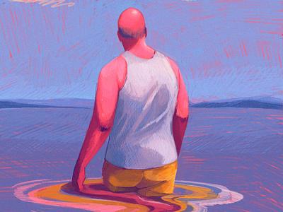 Immerse beach ipad procreate illustration editorial illustration