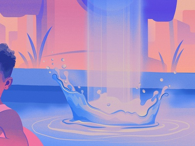 City Summer waterfall water summer magical realism children art illustration editorial illustration adobe illustrator