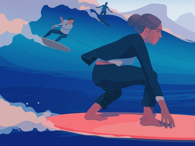 Out Of Office | Wired Magazine businesswoman bussines office ocean wired surf editorial illustration adobe illustrator
