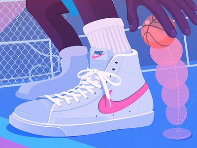 Streetball: Detail vector basketball sneaker nike illustration editorial illustration adobe illustrator