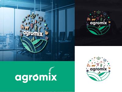 agromix georgia design branding mylogo vector logo illustration mix agromix agro