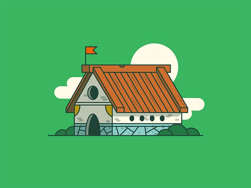 Medieval House hogar casa home viking medieval illustration line house
