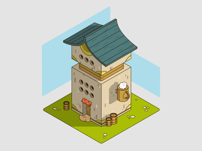 Isometric test architecture building house world beer epic fantasy bar isometric