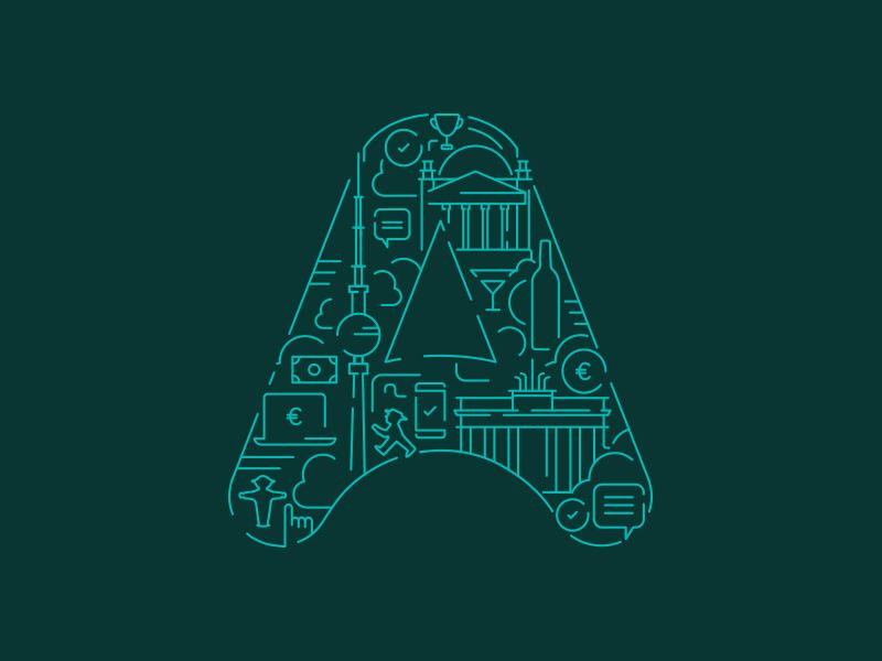 Azimo Berlin 2018 letter illustration line city transfer money azimo berlin