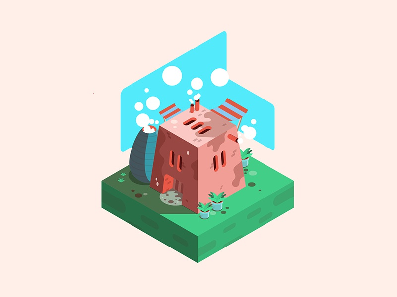 Isometric house summer plant grass bubble smoke house isometric