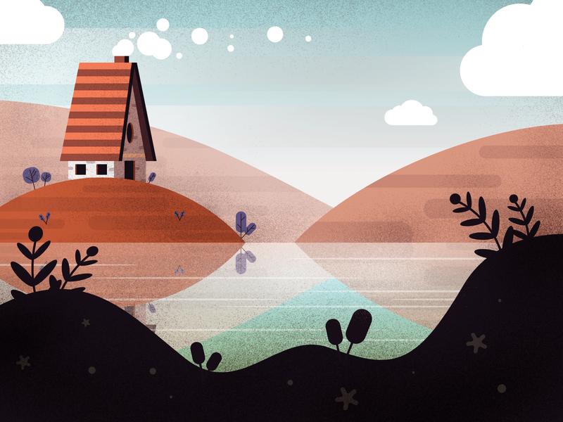 Cabin flat cabin house brushes landscape environment vector affinitydesigner