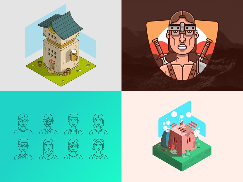 My top 4 shots from 2018 characters house isometric illustration design illustration