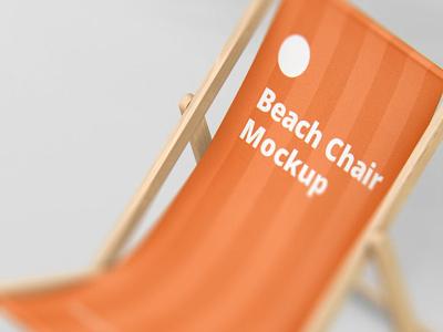 Beach Chair Mockup freebie free download lounger sun psd print armless summer wood fabric foldable branding logo mockup chair deck beach