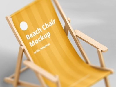 Beach Chair Mockup with Armrest freebie download ux lounger sun psd print armless summer wood fabric foldable branding logo mockup chair deck beach
