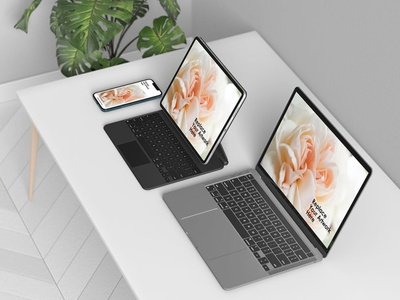 Multi Device Responsive Screen Mockup ui presentation macbook mac laptop display simple clean realistic phone mockup smartphone device mockup abstract phone multi device realististic website responsive tablet